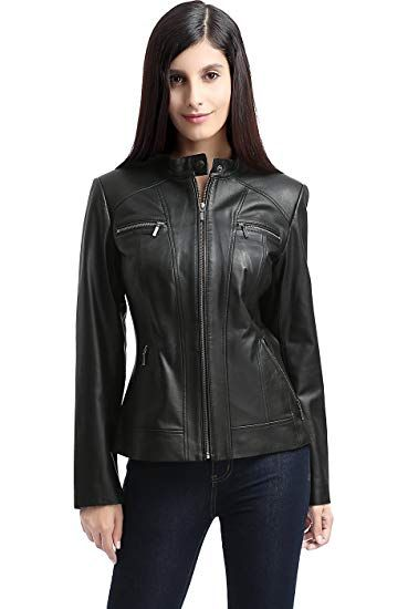 7a5c90db344 Beautiful BGSD Women s Mila Zip Front Leather Jacket online.   249.99   findanew from top store