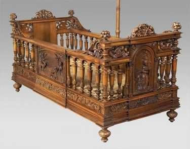 203: A. Dubois carved walnut infant bed with canopy - 3