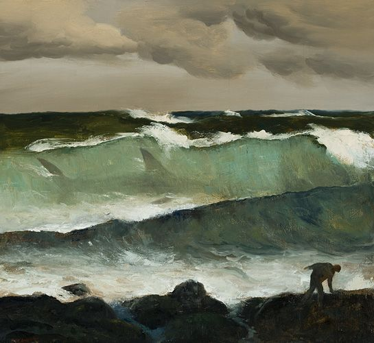 Rick Amor (Australian, b. 1948), Shark in a Wave, 2002. Oil on canvas.