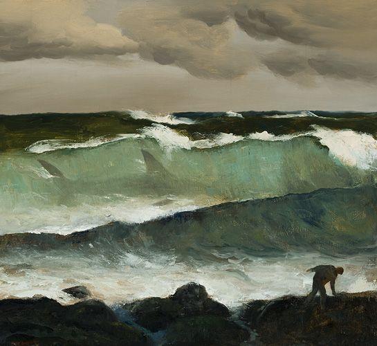 Rick Amor (Australian, b. 1948), Shark in a Wave, 2002. Oil on canvas.