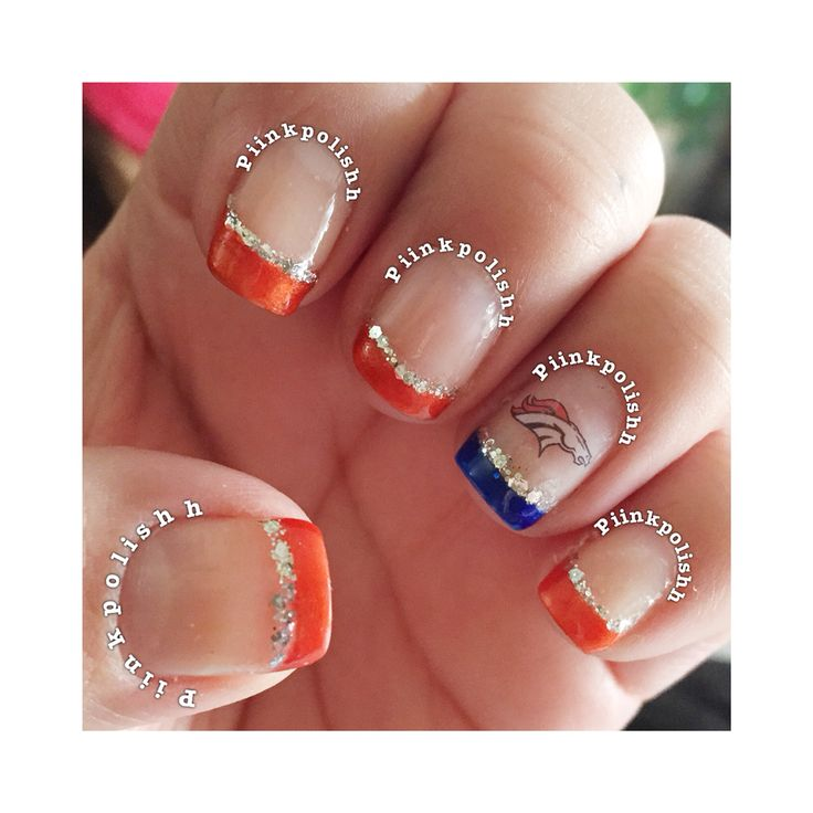 Denver Broncos nails.
