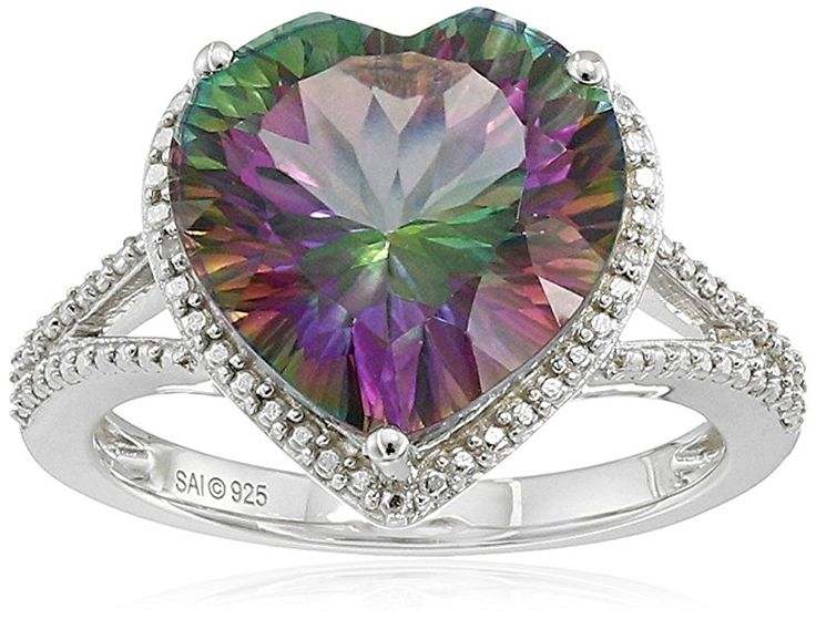 Sterling Silver Mystic Fire Topaz and Diamond-Accented Heart Ring, Size 7