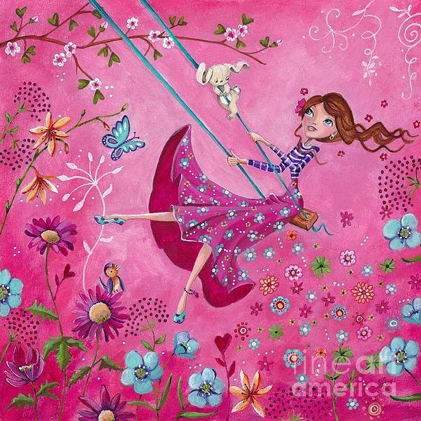 Swing Girl by Caroline Bonne-Muller - Swing Girl Painting - Swing Girl Fine Art Prints and Posters for Sale
