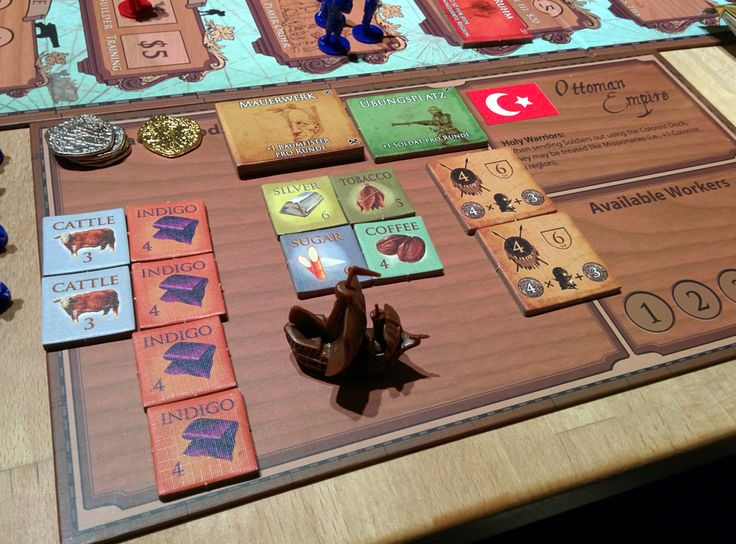 Glenn Drover's Empires: Age of Discovery – Deluxe Edition | Player board of the Deluxe Edition with German paste-ups