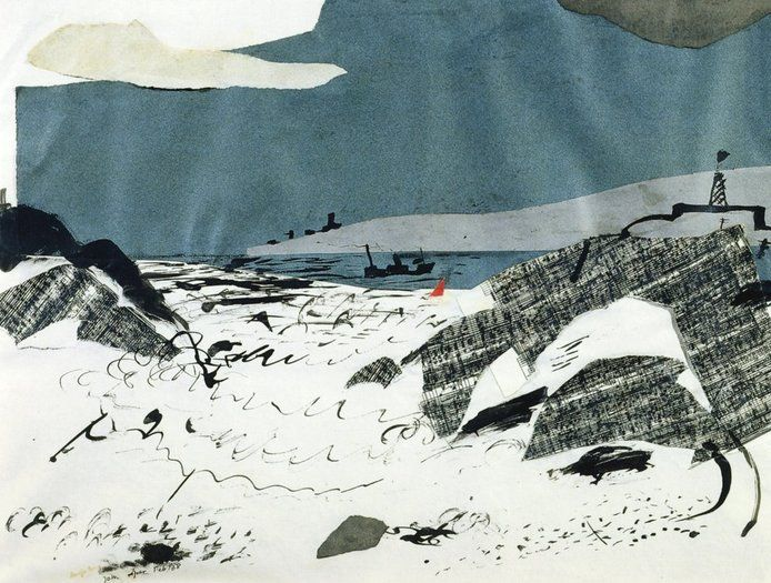 'Angle Bay' (1938) by English painter, printmaker & designer John Piper (1903-1992). Collage, watercolour & in, 14.25 x 17.75 in. via Offer Waterman