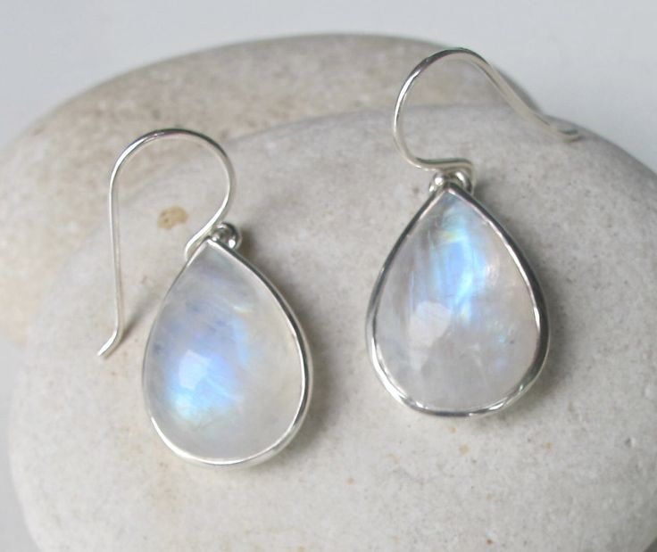 Clic Moonstone Dangle Earring Rainbow Drop June Birthstone Pear Shape Earrings Cabochon