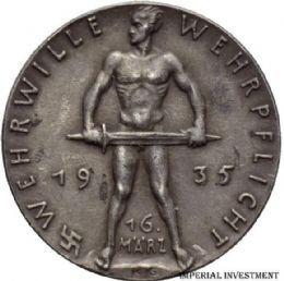 GERMAN SILVER MEDAL KARL GOETZ - WEHRWILLE WEHRPFLICHT 1935