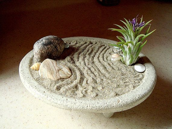 Peaceful ZEN Garden Concrete Planter and Air Plant by MyZen, $44.95 -- i probably can't kill this!