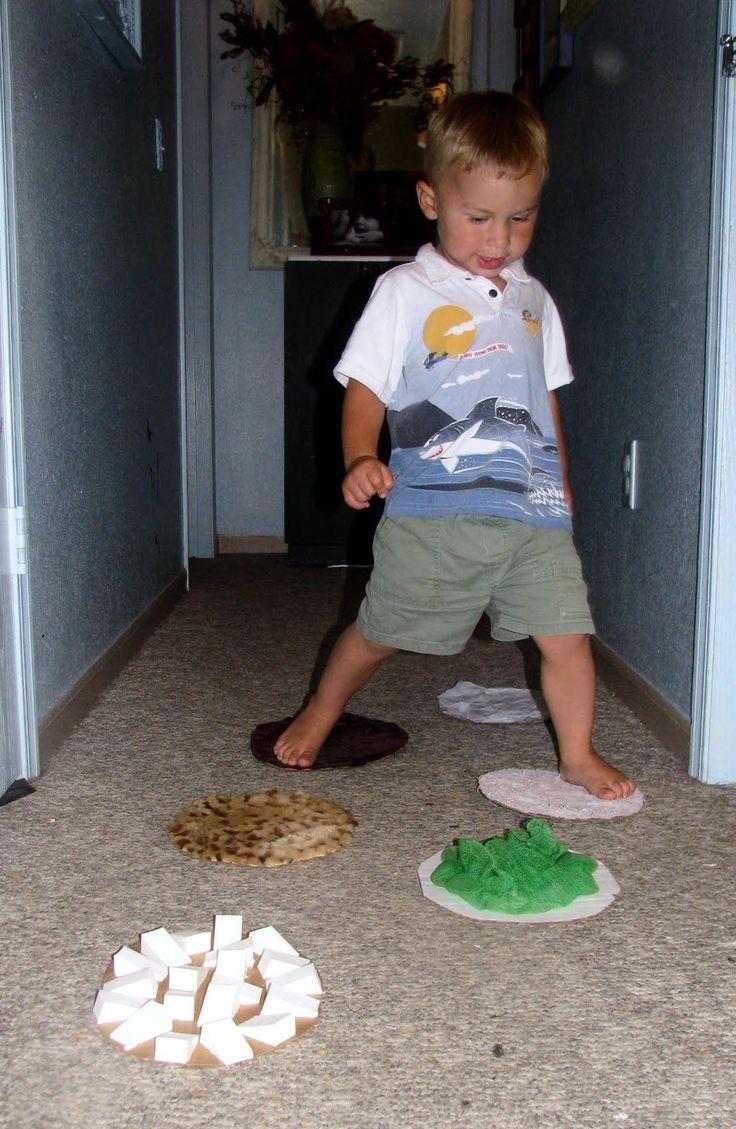 Sensory Steps - need cardboard circles, sensory items, glue. Encourages movement, exploring textures...