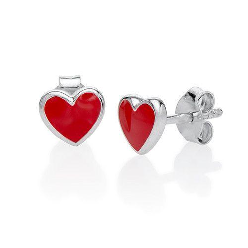 Red Heart Earrings for Kids | MyNameNecklace