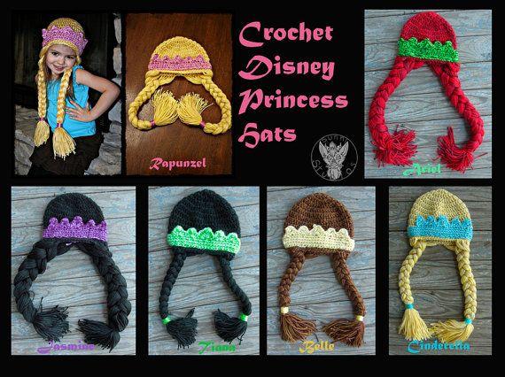 Crochet Disney Princess Hats por SunniStudios en Etsy