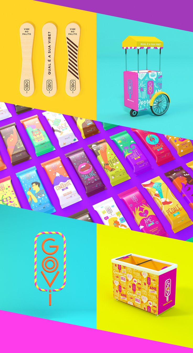 """What's your vibe?"" For Goovi, a popsicle brand, Sweety Branding Studio wanted the flavors to be more than just the typical choices. Instead, Goovi offers vibes, and each popsicle has an illustration that represents all sorts of different sensations — perhaps ones you identify with and maybe some you hope to experience."