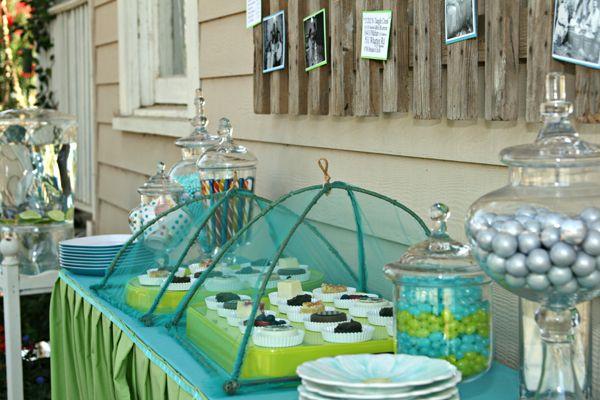 Anniversary PartyDisplay Food, Parties Plans, Nets Covers, Anniversaries Ideas, Parties Ideas, Glasses Jars, Bugs Nets, Cooking Foodists, Anniversaries Parties