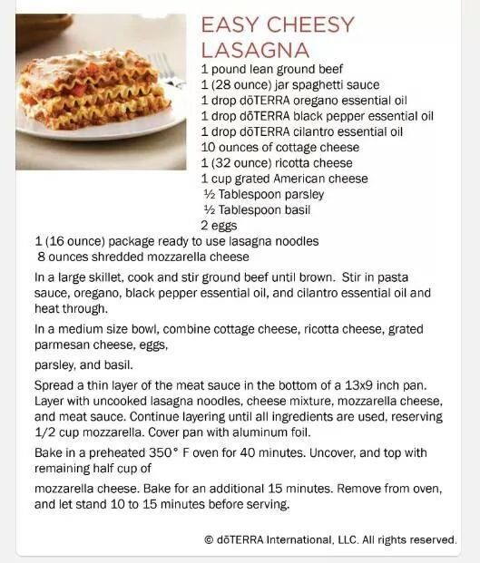 16 best doterra food and recipes using essential oils images on easy lasagna recipe using your doterra essential oil forumfinder Gallery