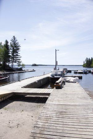 View of the bay and dock from  Old Pilots Pub, Storm Bay Road | Smith Camps, Kenora, Ontario