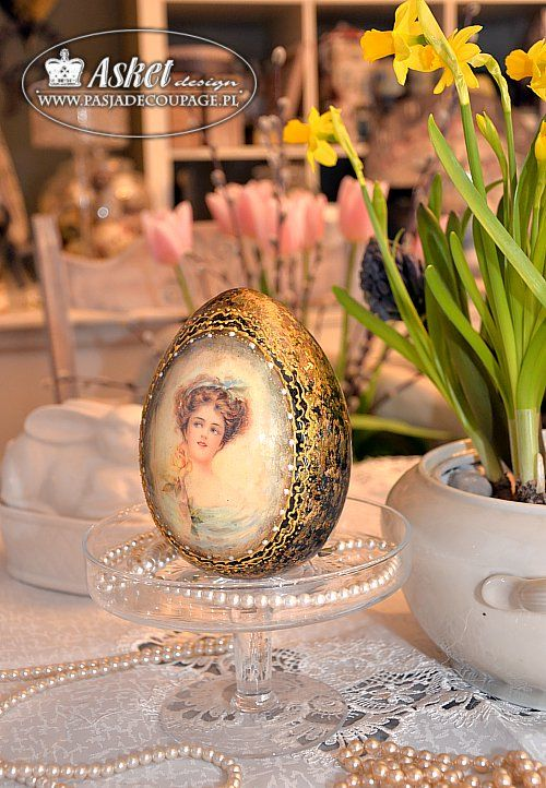Handmade ceramic decoration - egg with a lady