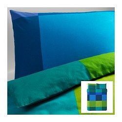 BRUNKRISSLA Duvet cover and pillowcase(s) - blue, Full/Queen (Double/Queen) - IKEA