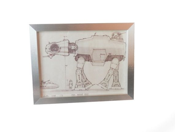 14 best star wars blueprints large frames images on pinterest star wars blueprint of an at at taken from the star wars blueprint book cut and fixed into frames to offer an unusual art piece malvernweather Images