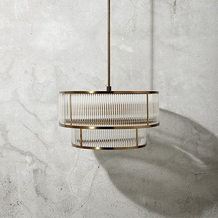 Modern Double Tiered Gem Pendant in Brushed Brass | Arhaus Furniture