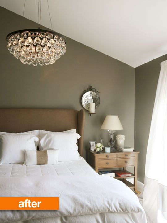 Before After Sophisticated Master Bedroom Makeover See More Best Ideas About The Chandelier