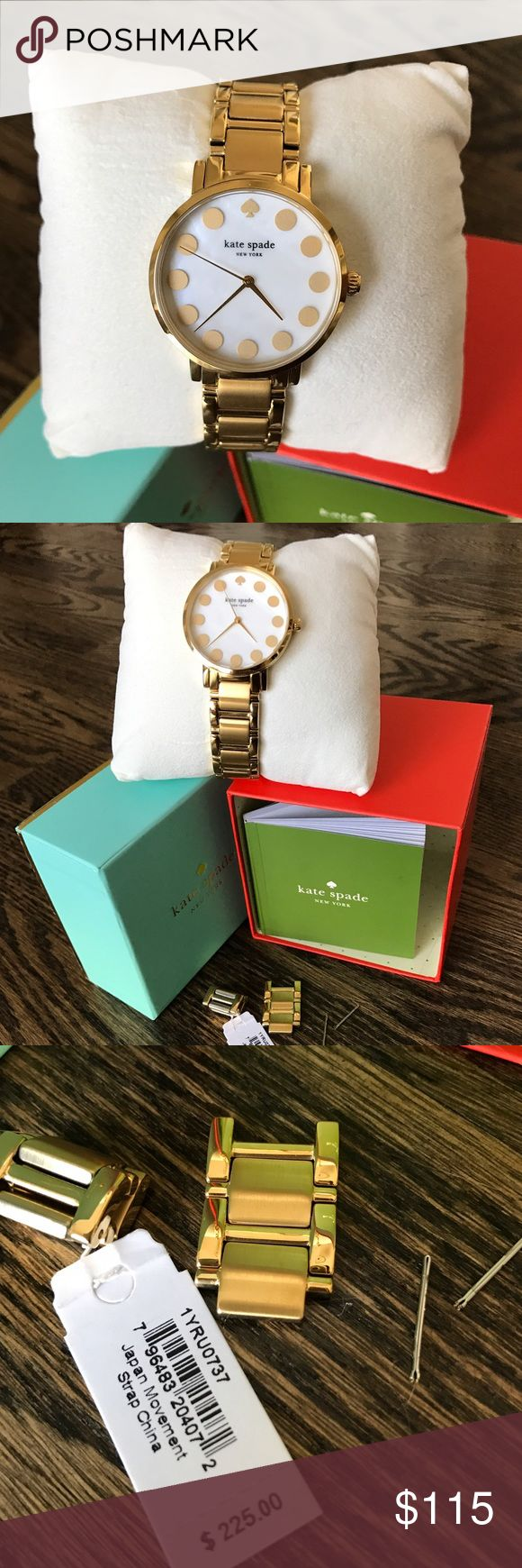 Kate Spade gold watch Brand new never worn Kate spade gold watch with mother of pearl face! Some links were removed but they will all be included along with guide and original box! I ended up getting one like this as a gift so I'm selling the one I purchased! (Battery works!) kate spade Accessories Watches