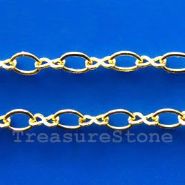 Chain, brass, gold-finished, 2x3.5mm. TreasureStone Beads Edmonton