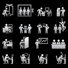Daily Office Job black and white royalty-free vector icon set vector art illustration