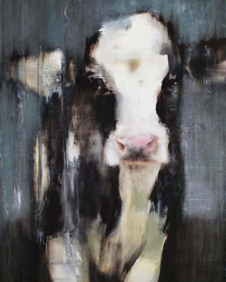 """""""Rain"""" by Elsa Sroka, Oil, 40x30"""" Great Decorating Idea FOR farmhouse, Country and Rustic Decor (sweet black and white Cow in the rain)"""