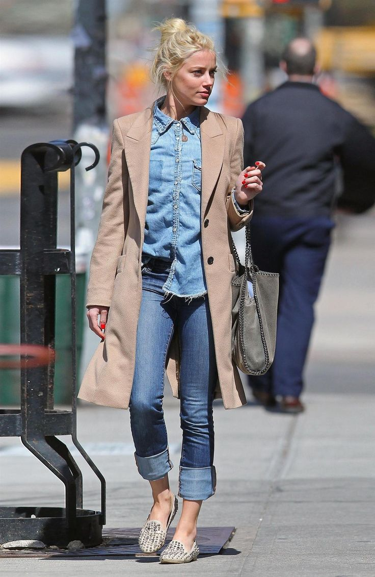chambray button down + camel jacket