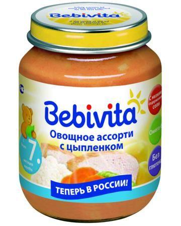 Bebivita овощное ассорти с цыплёнком 7 мес. 100 г  — 59р. ------ Пюре Bebivita овощное ассорти с цыплёнком 7 мес. 100 г - сбалансированное детское питание. Продукт готов к употреблению, достаточно необходимое количество подогреть на водяной бане или в микроволновой печи, перемешать и проверить температуру. Возраст ребе...