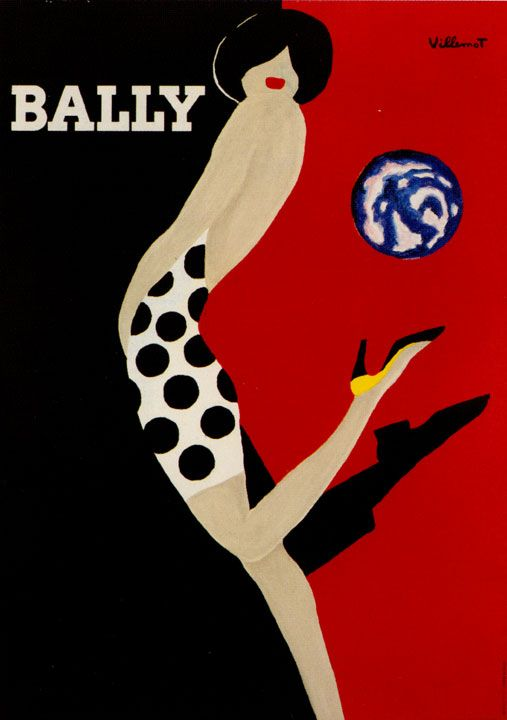 Vintage Bally Fashion Shoes  Bernard Villemot Giclee Print