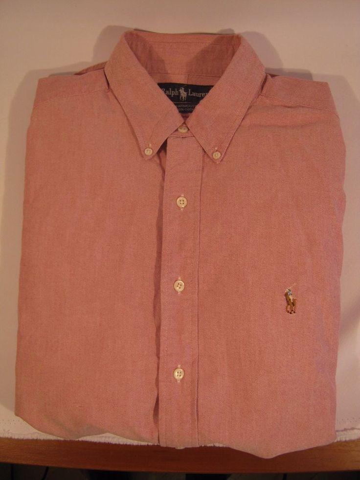 Authentic Ralph Lauren Mens Shirt Size: 17-35 Yarmouth Shirt DARK PINK #RalphLauren #Shirt