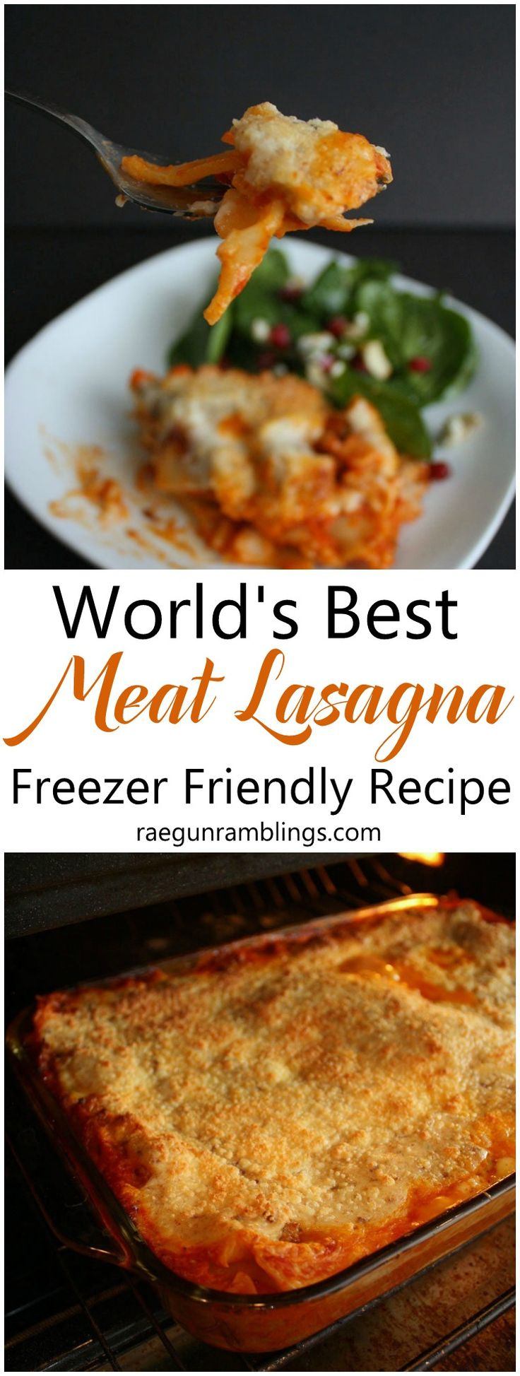 Hands down the best lasagna recipe. Already made it twice and it freezes nicely for an easy weeknight dinner of meat lasagna.
