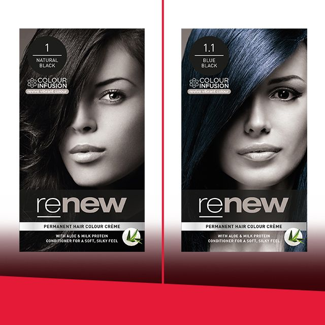What is the difference between Renew Natural Black and Renew Blue Black?   Renew Blue Black has blue reflect tones in the dye. This means that the hair colour has blue tones in it and isn't a solid black. So, next time you step into the sun, make sure you take note of how the beautiful blue reflect tones make your hair glow. #RenewColour