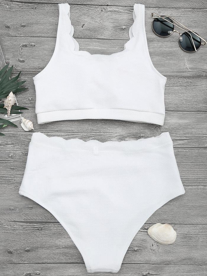 7004321f7bd Women - Scalloped High Waisted Bralette Bikini Set in Blue/ White/ Black in  2019 | Swimwear 2019 Summer! | Bralette bikini, Bikinis, Bikini set