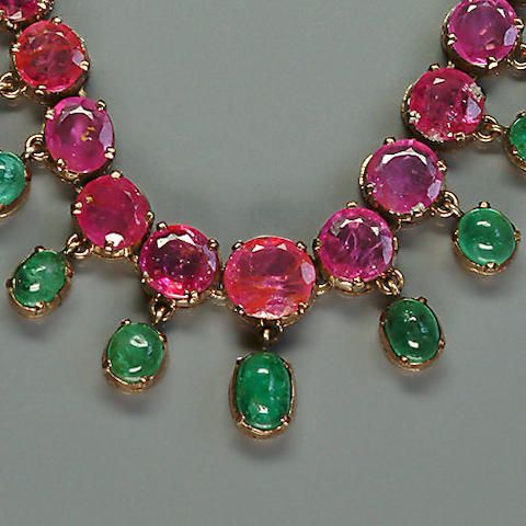 A ruby and emerald necklace