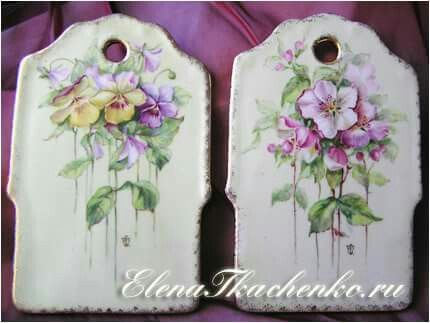 Boards. Hand painted china.