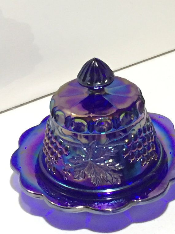 /carnival-glass-cobalt-covered-butter dish