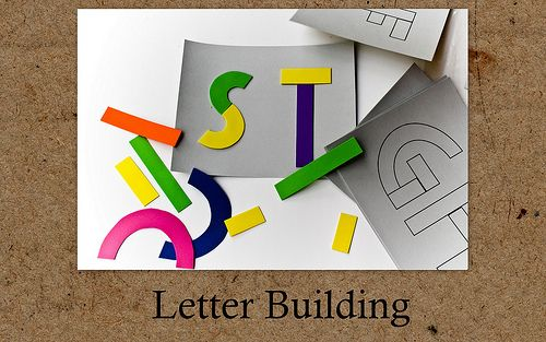 Different letter building activity using different coloured foam pieces