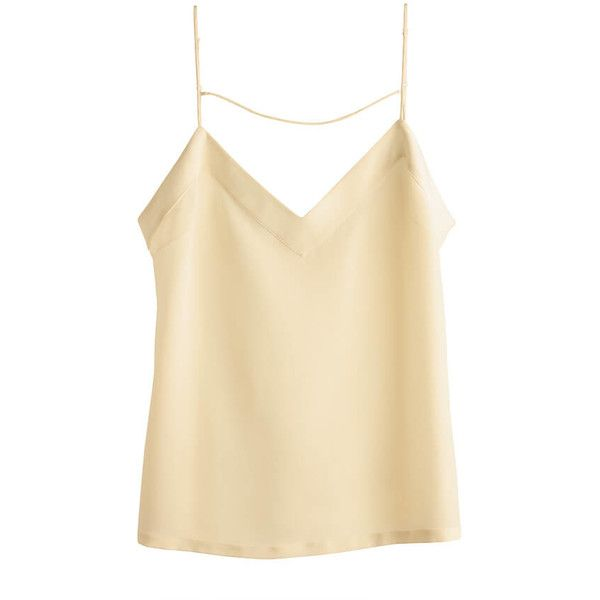 Silk Cami ($135) ❤ liked on Polyvore featuring silk cami, v neck cami, beige cami, v-neck camisoles and silk v neck cami