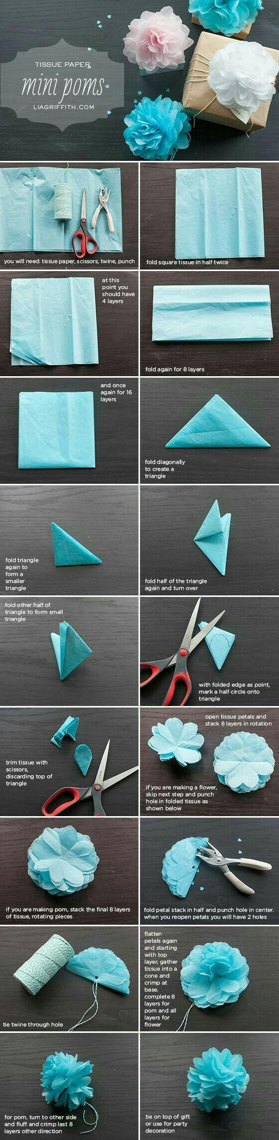 Pompon de papel china. O papel seda.  Para decoración