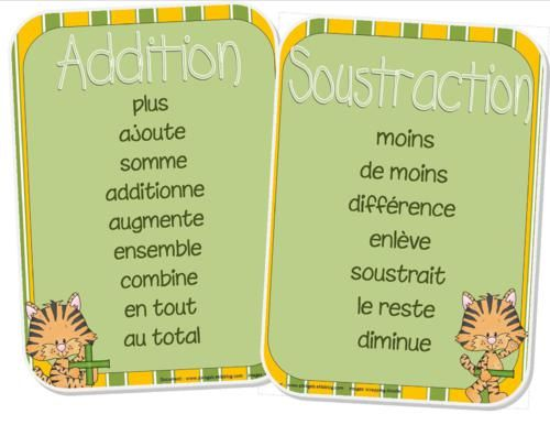 Affiches pour aider les enfants à trouver la bonne opération lorsqu'ils lisent un problème de mathématique.