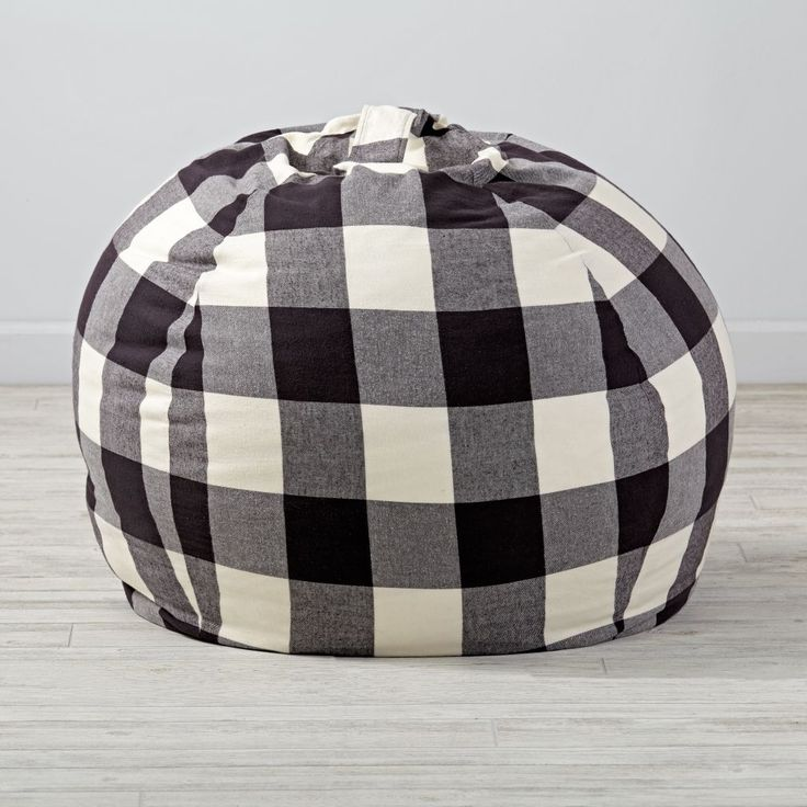 """Shop 40"""" Black Buffalo Check Bean Bag Chair.  Okay, kid.  Have a seat.  Your Buffalo Check Bean Bag Chair is here.  With cotton flannel construction, they're our comfiest bean bags ever.  And now our Bean Bag Chairs can be personalized with a child's name."""