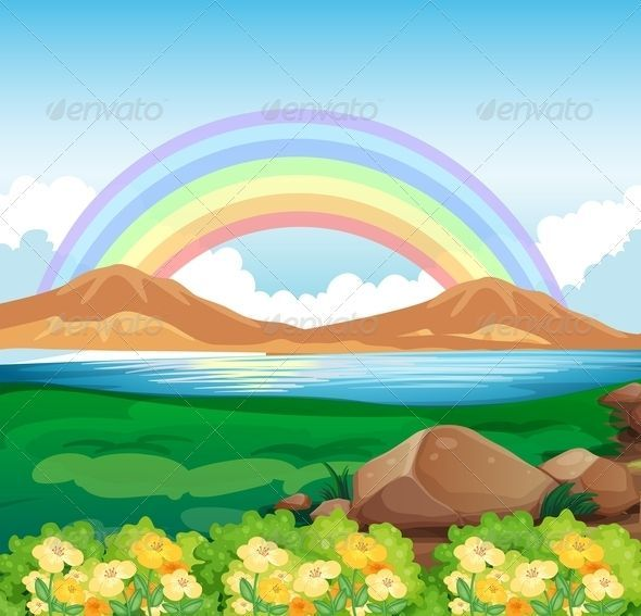 Rainbow And Beautiful Nature Kids Art Projects Beautiful Nature Painting For Kids