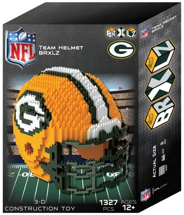 "Green Bay Packers NFL 3D BRXLZ Puzzle Helmet Set. Contains apprx. 1400 pieces. The Finished Helmet Size is Approximately: 4.45"" X 5.5""X 4.5"""
