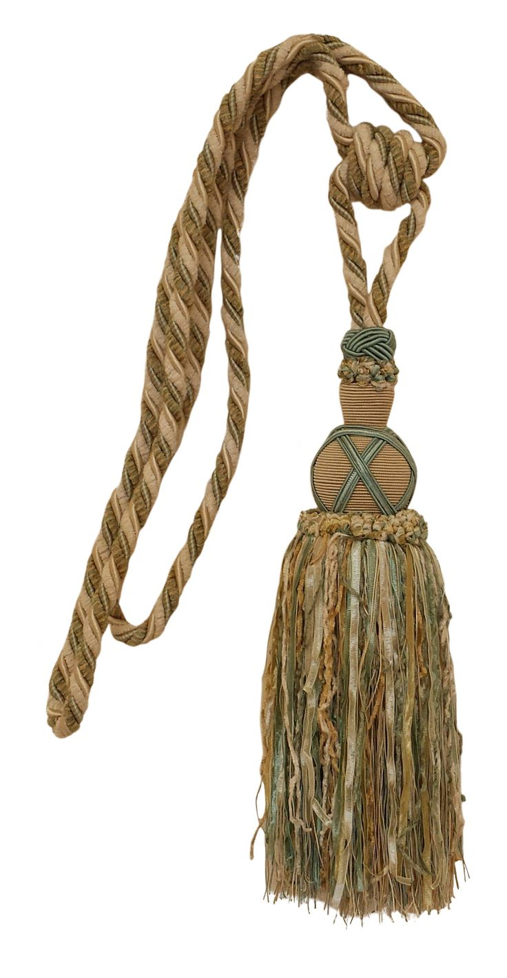 "Lovely Turquoise Green, Off-white, Beige Curtain & Drapery Tassel Tieback / 12"" tassel, 34"" Spread (embrace), 3/8"" Cord, COLOR: Turquoise Island"