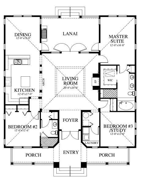 1867 square feet, 3 bedrooms, 2 batrooms, on 1 levels, Floor Plan Number 1
