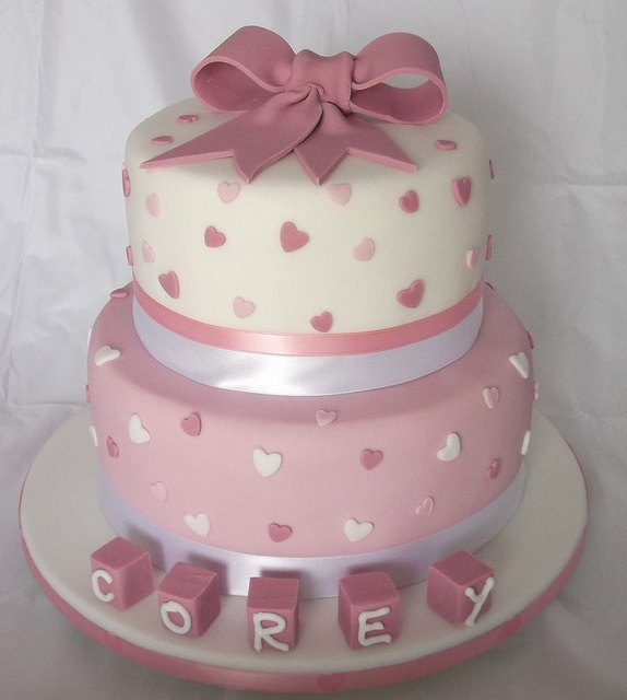 2 tier pink christening cake by Jill The Cakemaker, via Flickr