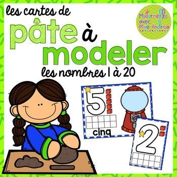 Cartes de pâte à modeler - les nombres 1-20 (FRENCH number