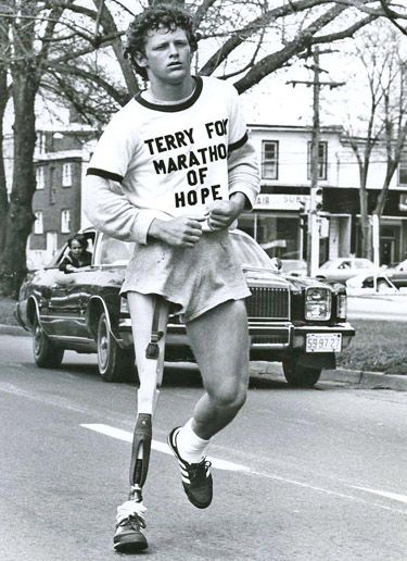 Terry Fox, a Canadian hero. Every year Canadian's participate in the Terry Fox run for cancer research.